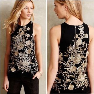 NWOT ANTHROPOLOGIE black and gold fancy top